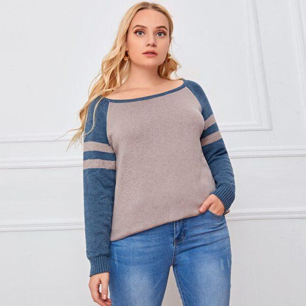 Plus Striped Raglan Sleeve Two Tone Sweater, Apricot