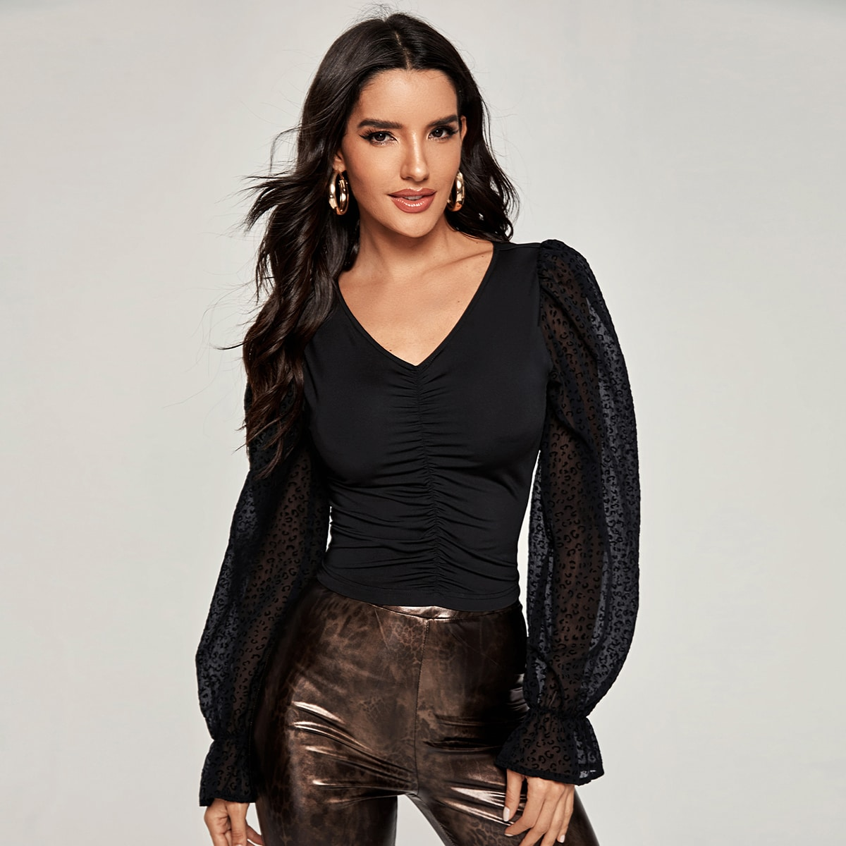Spliced Chiffon Ruched Front Top