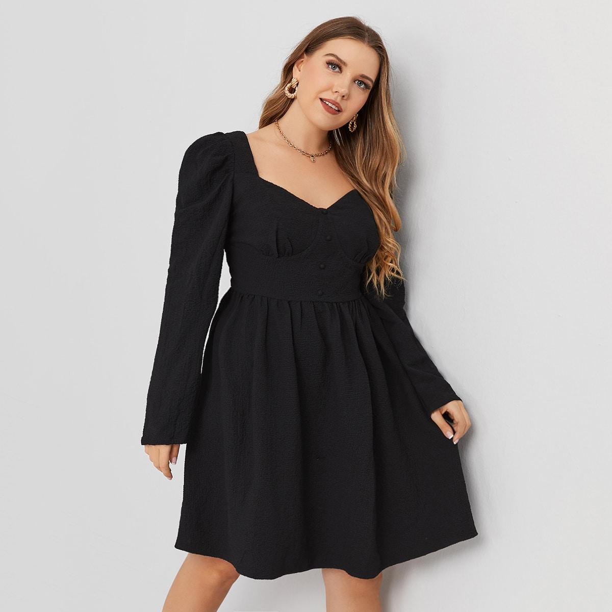 Платье размера плюс с пышным рукавом