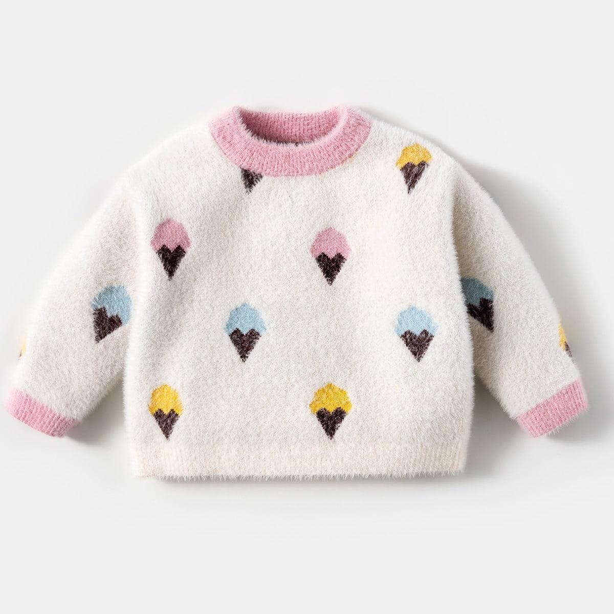 Графический принт повседневный свитеры для девочек