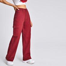 High Waist Flap Pocket Wide Leg Jeans