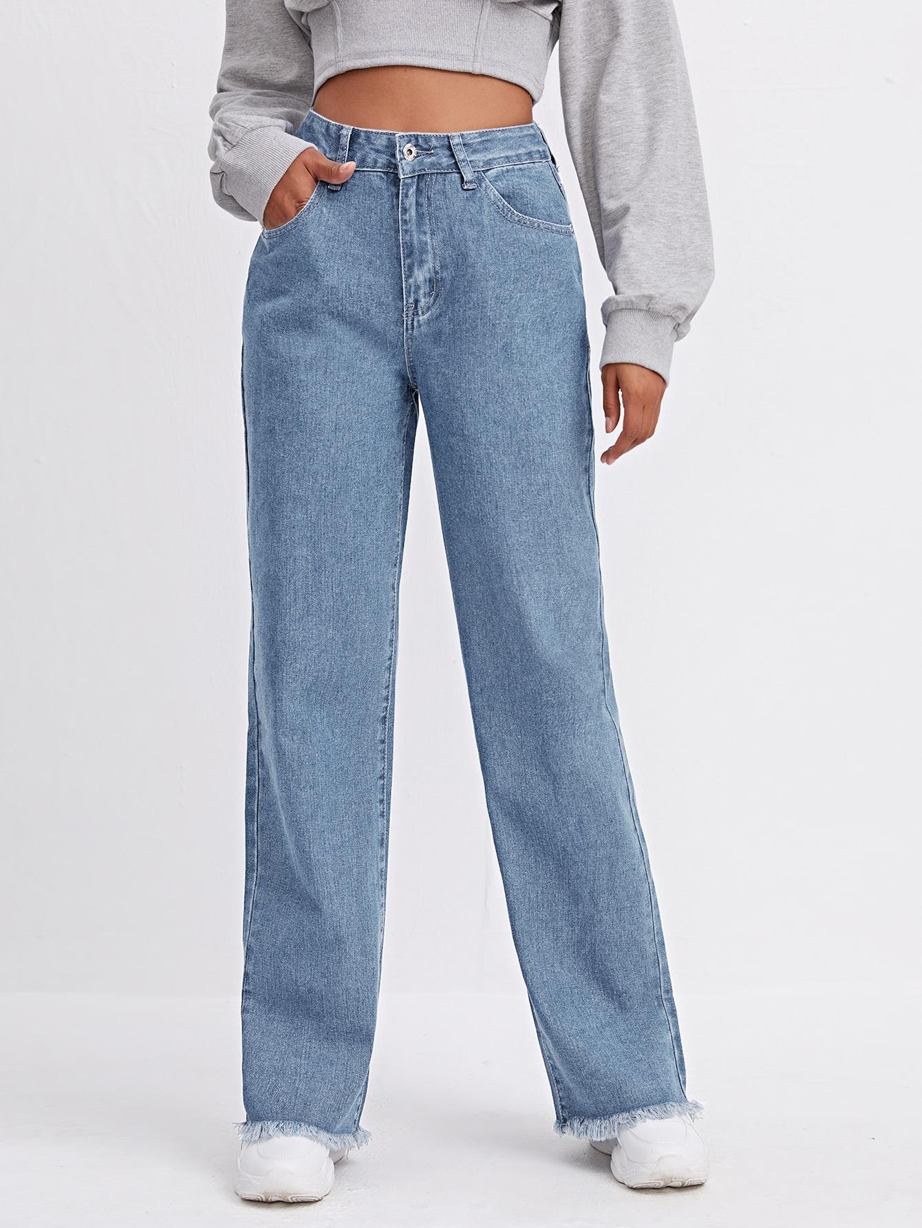High Waist Raw Hem Straight Leg Jeans thumbnail