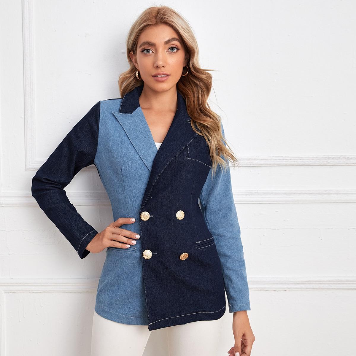 Контрастный джинсовый пиджак