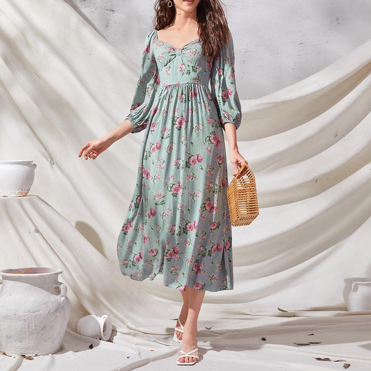 на молнии Цветочный принт Винтажный Платье