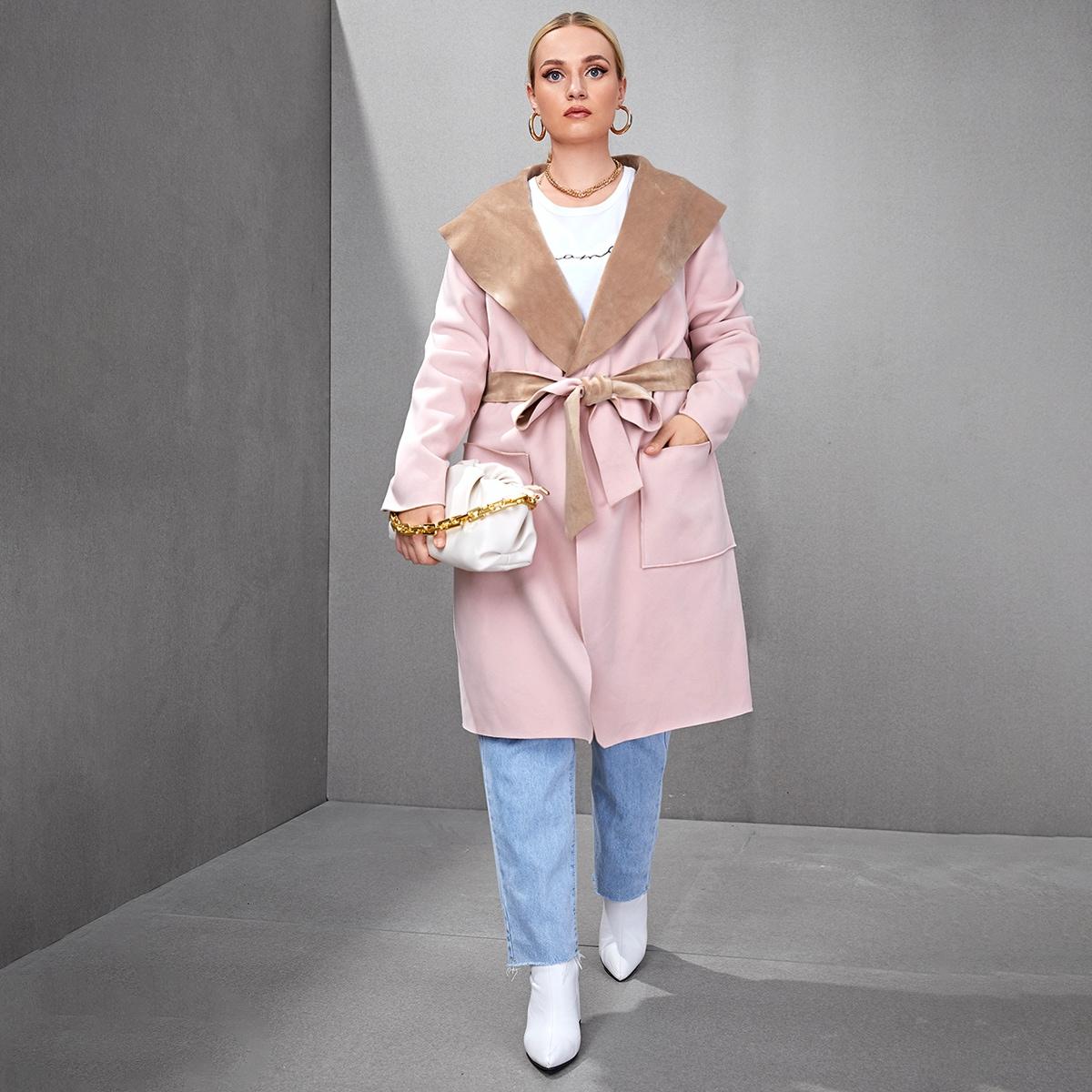 с карманами Одноцветный Повседневный Плюс размеры пальто