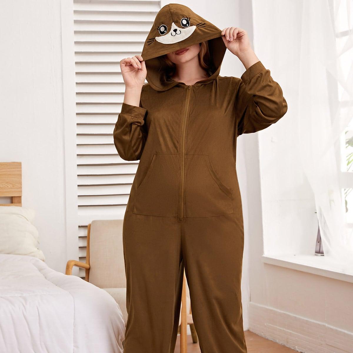 Комбинезон для сна размера плюс с капюшоном и мультипликационной вышивкой