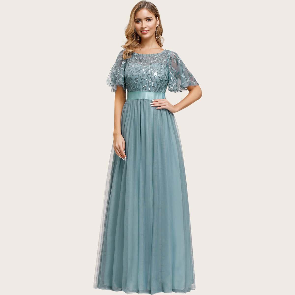 Сетчатое платье с блестками