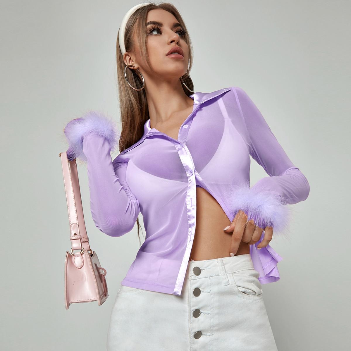Сетчатая блузка с искусственным мехом без бюстгальтера