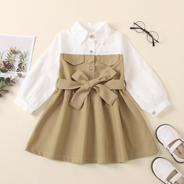 Toddler Girls Colorblock Flap Detail Belted Shirt Dress, Khaki