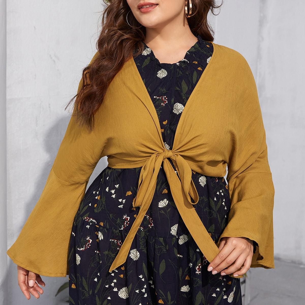 С оборками одноцветный повседневный кимоно размер плюс