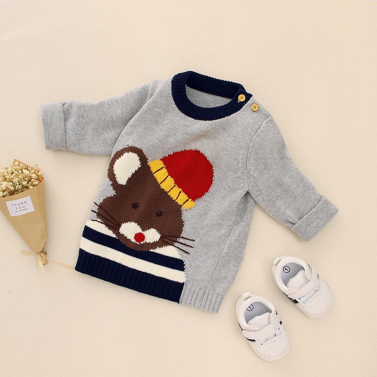 Контрастная отделка мультяшный принт повседневный свитеры  для малышей
