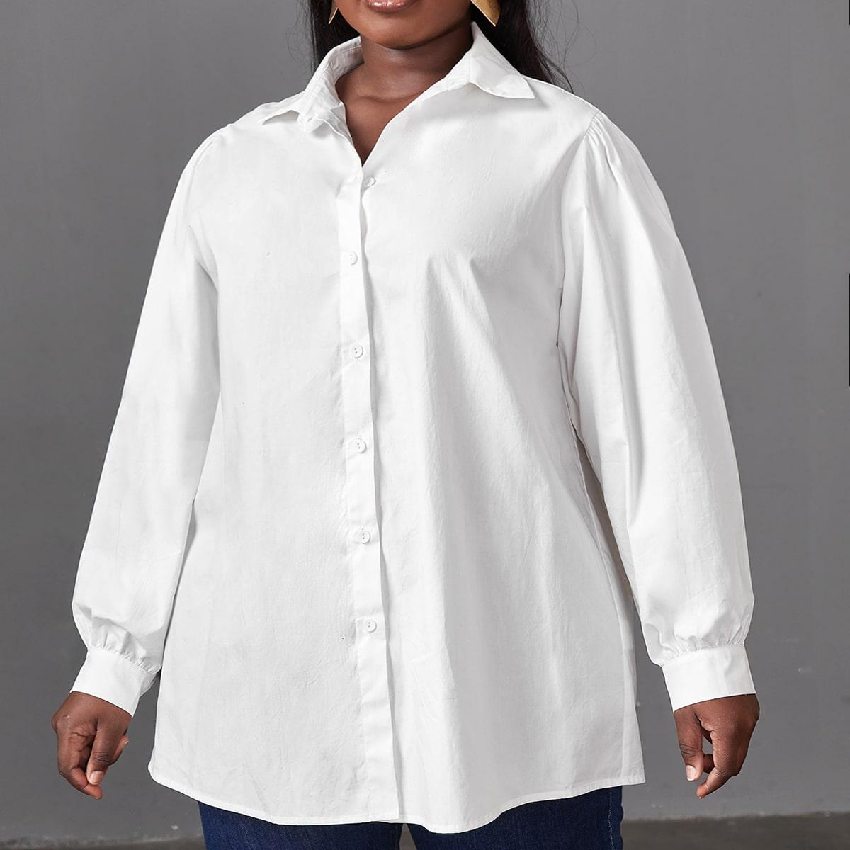 Однобортная блузка размера плюс с рукавами фонариками