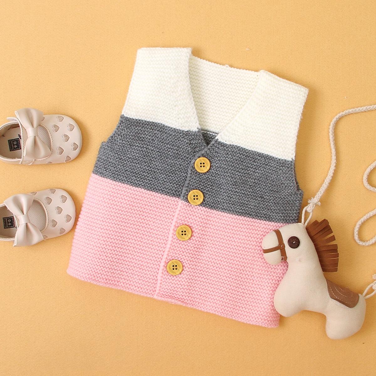 Пуговица контрастный цвет повседневный кардиганы  для малышей