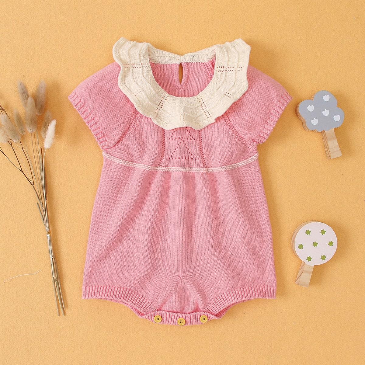 С оборками контрастный цвет милый трикотажные комбинезоны для малышей