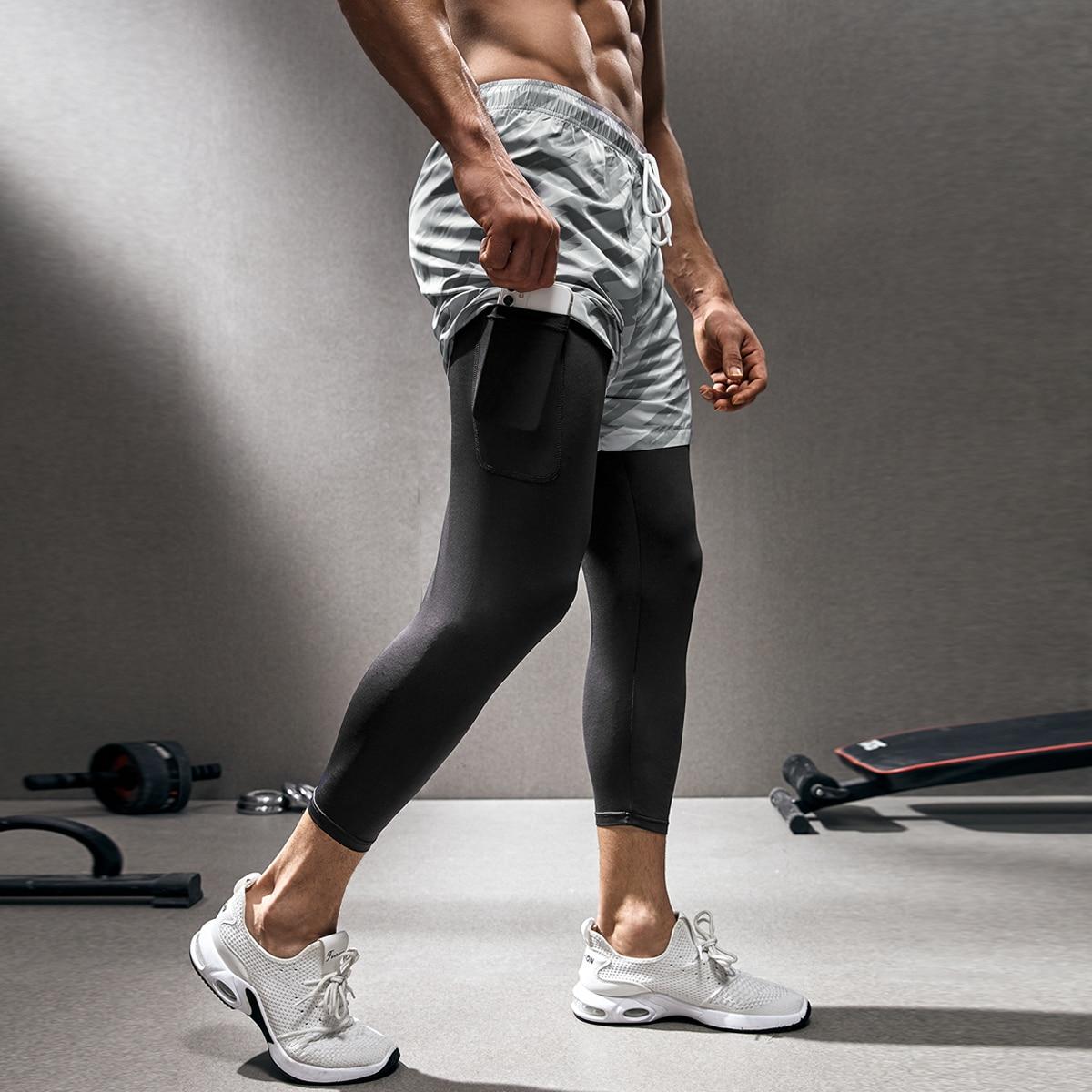 Мужские колготки для йоги с искусственными двойными буквами и геометрическим рисунком на шнурке