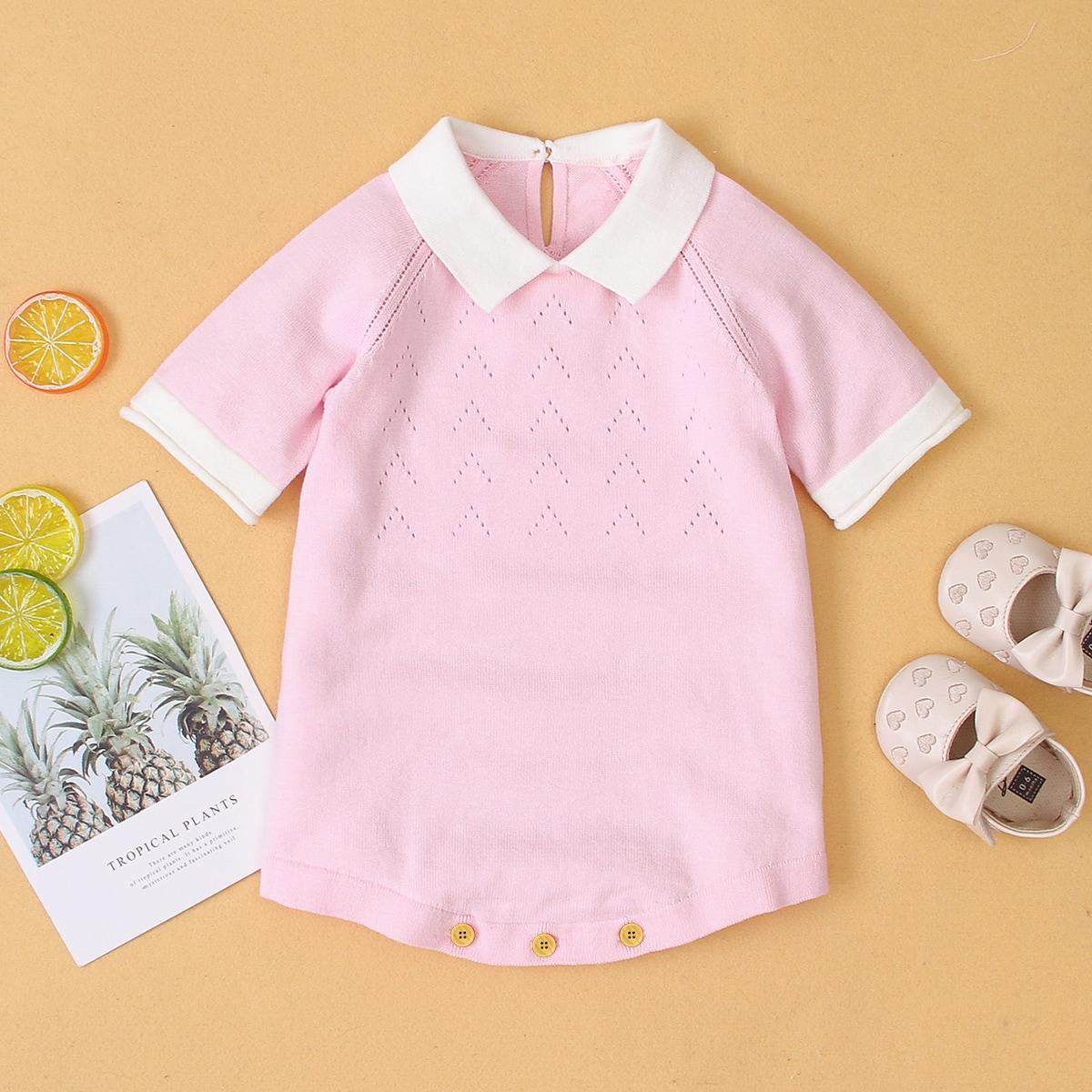 Контрастная отделка контрастный цвет повседневный трикотажные комбинезоны для малышей