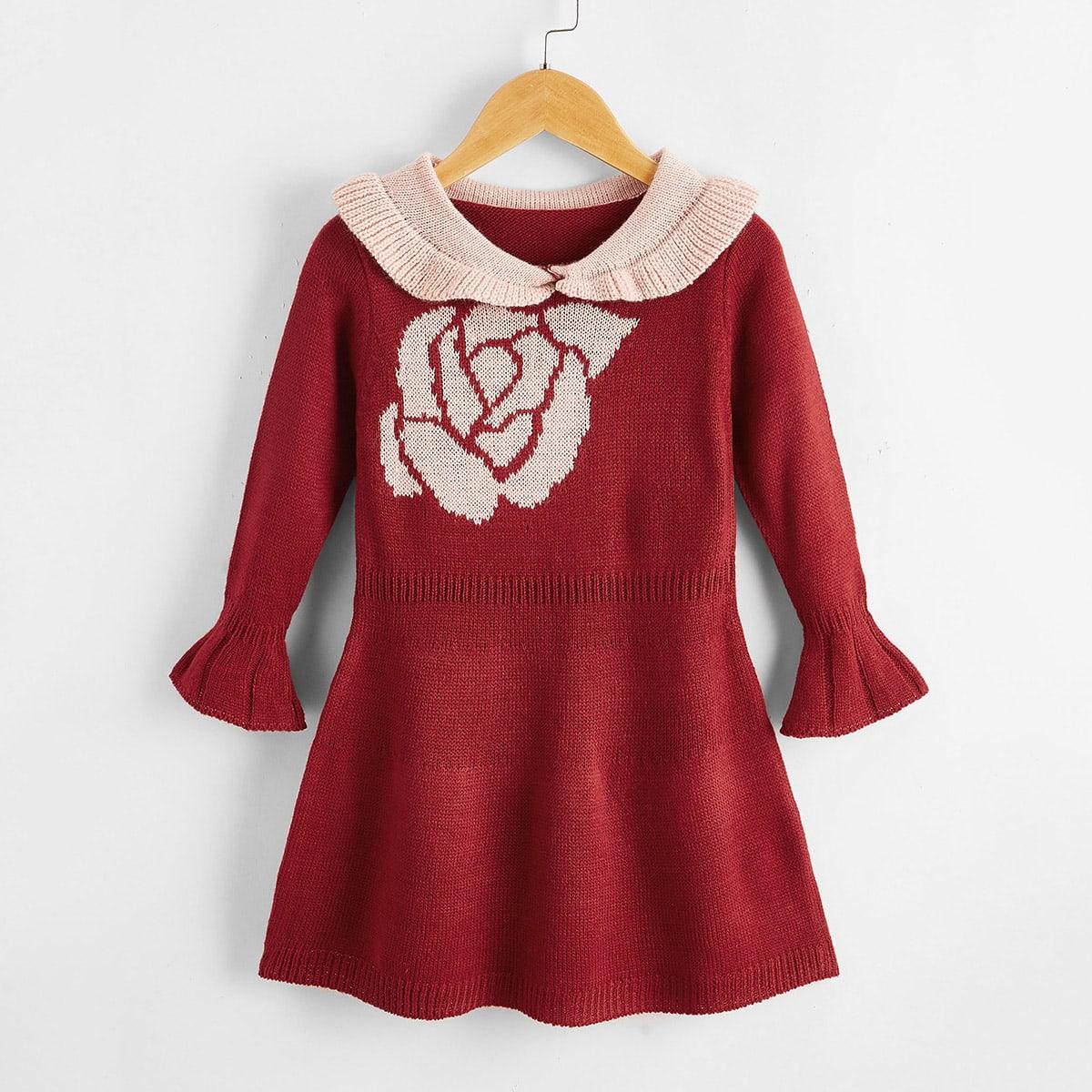 Платье с цветочным рисунком и контрастным воротником для девочек