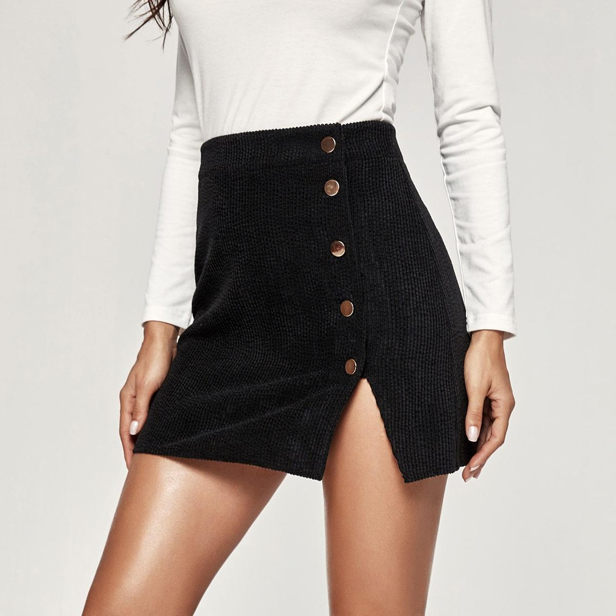 Button Detail Slit Hem Corduroy Skirt