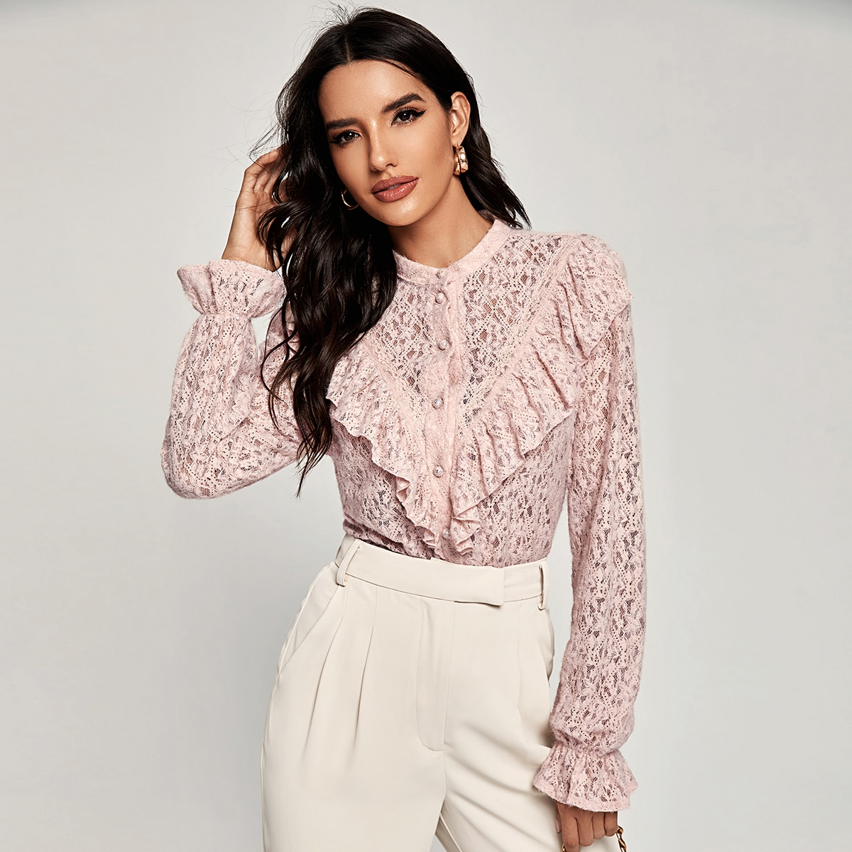 Solid Lace Ruffle Trim Blouse