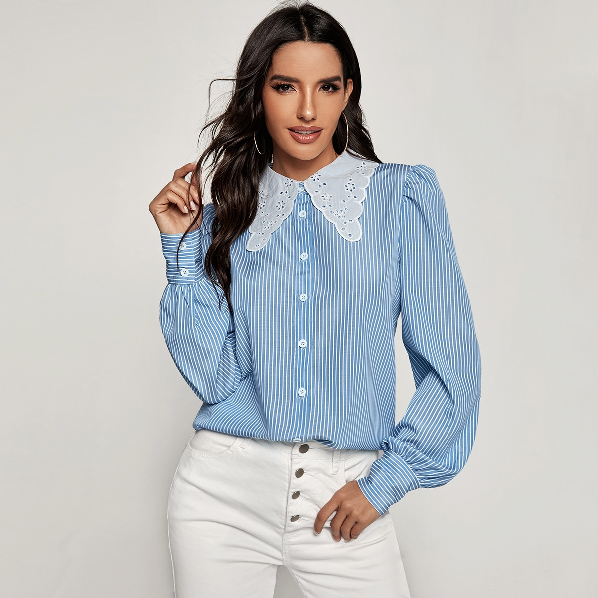 Striped Contrast Collar Button Through Blouse