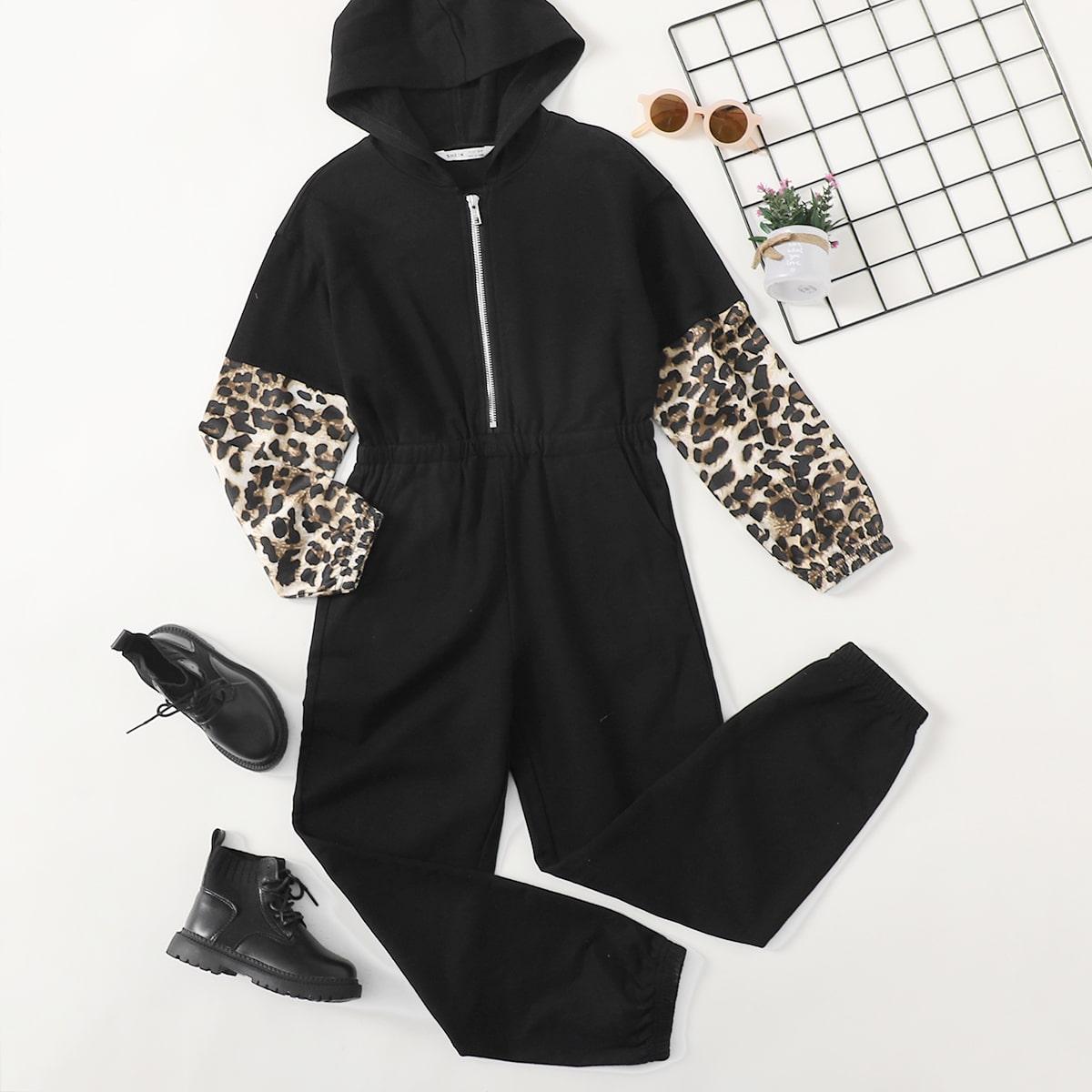 На молнии леопардовый повседневный комбинезоны для девочек