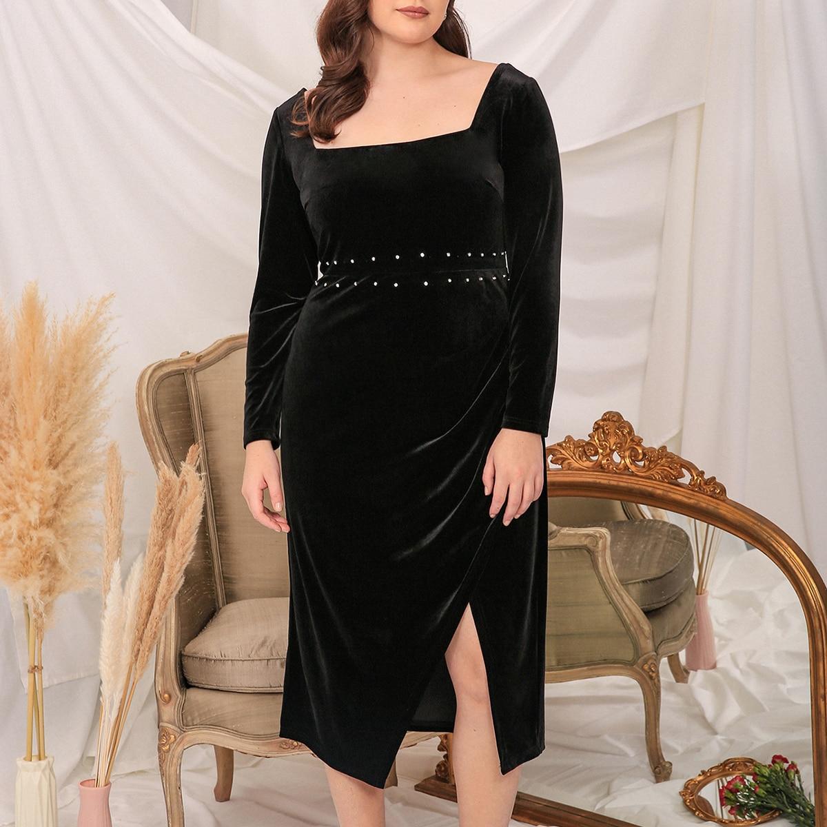 Plus Pearl Detail Split Hem Velvet Dress