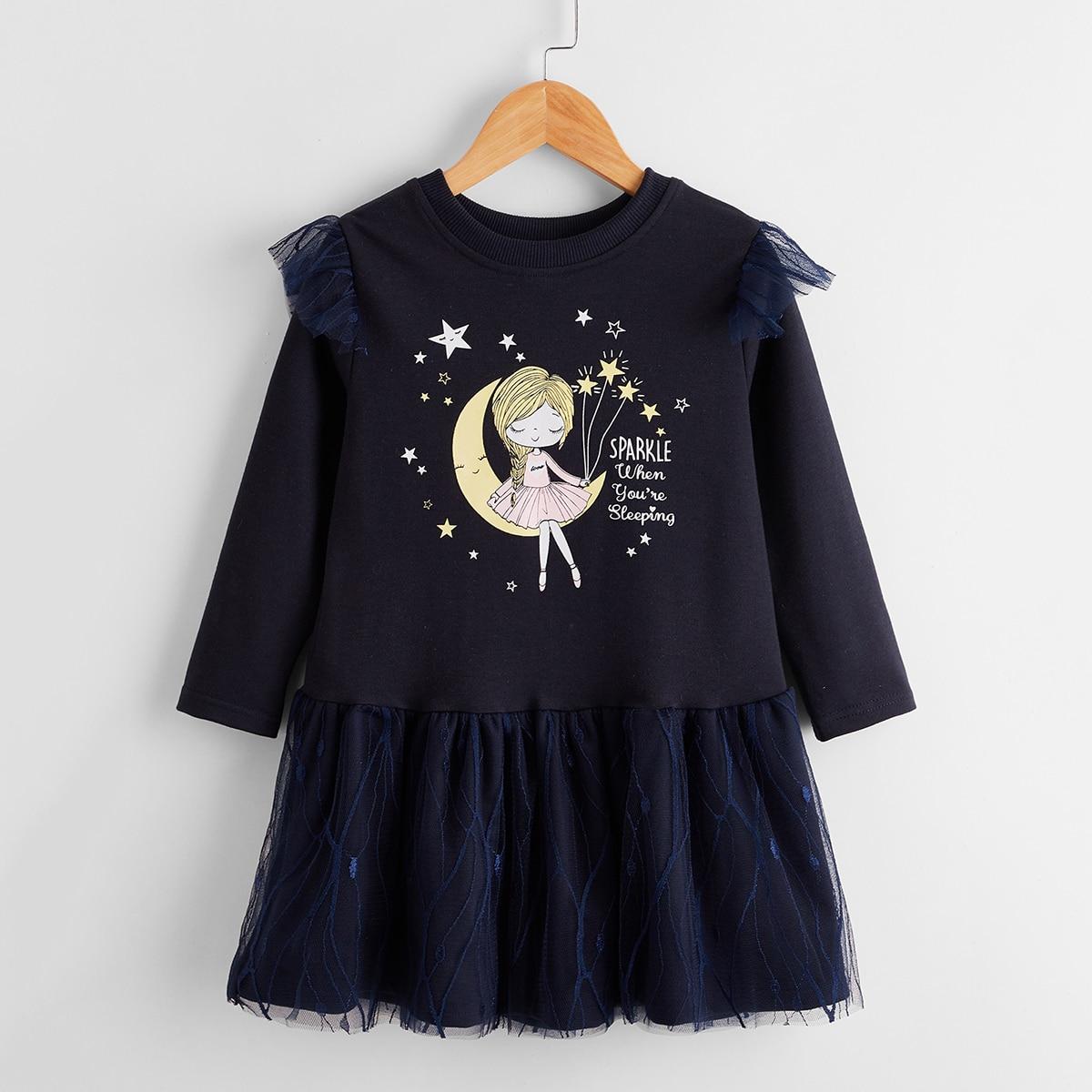 С оборками мультяшный принт милый платья для девочек