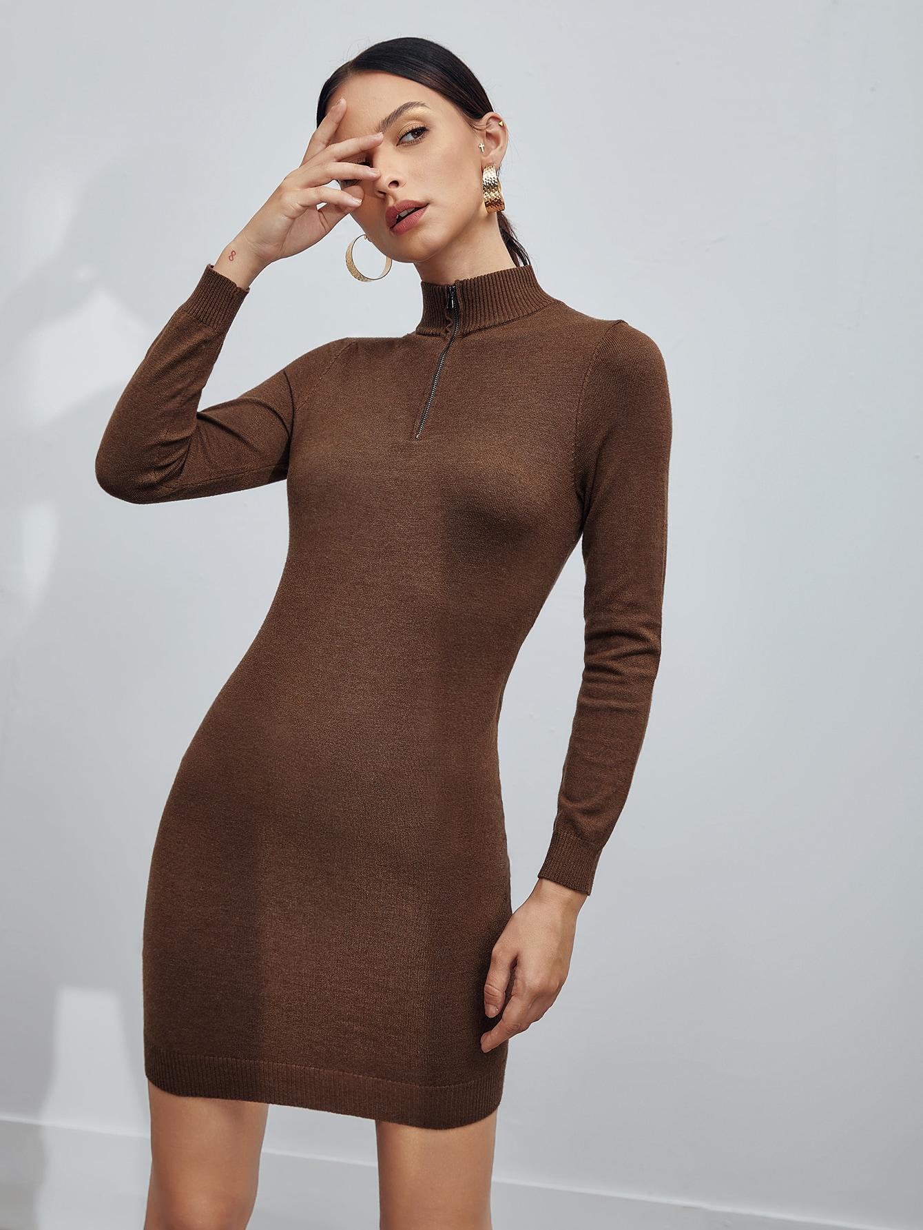 Half Zip Solid Sweater Dress thumbnail