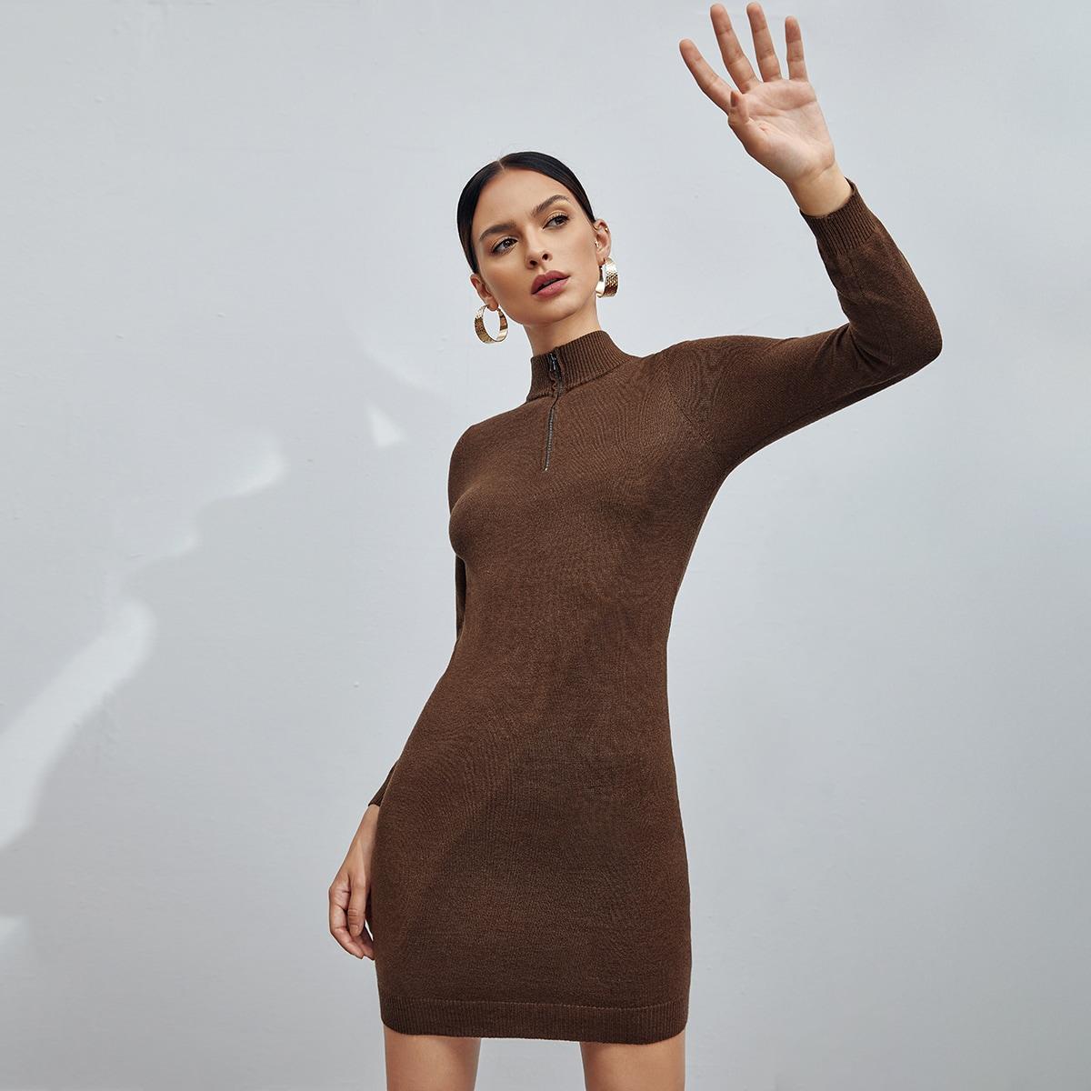 На молнии одноцветный элегантный платья-свитеры