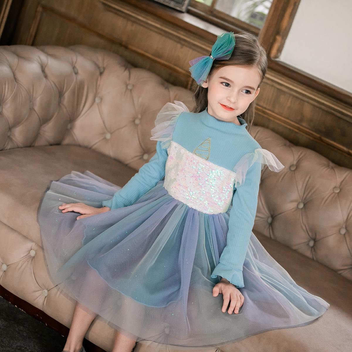 Контрастные блестки очаровательный нарядное платье для маленьких девочек