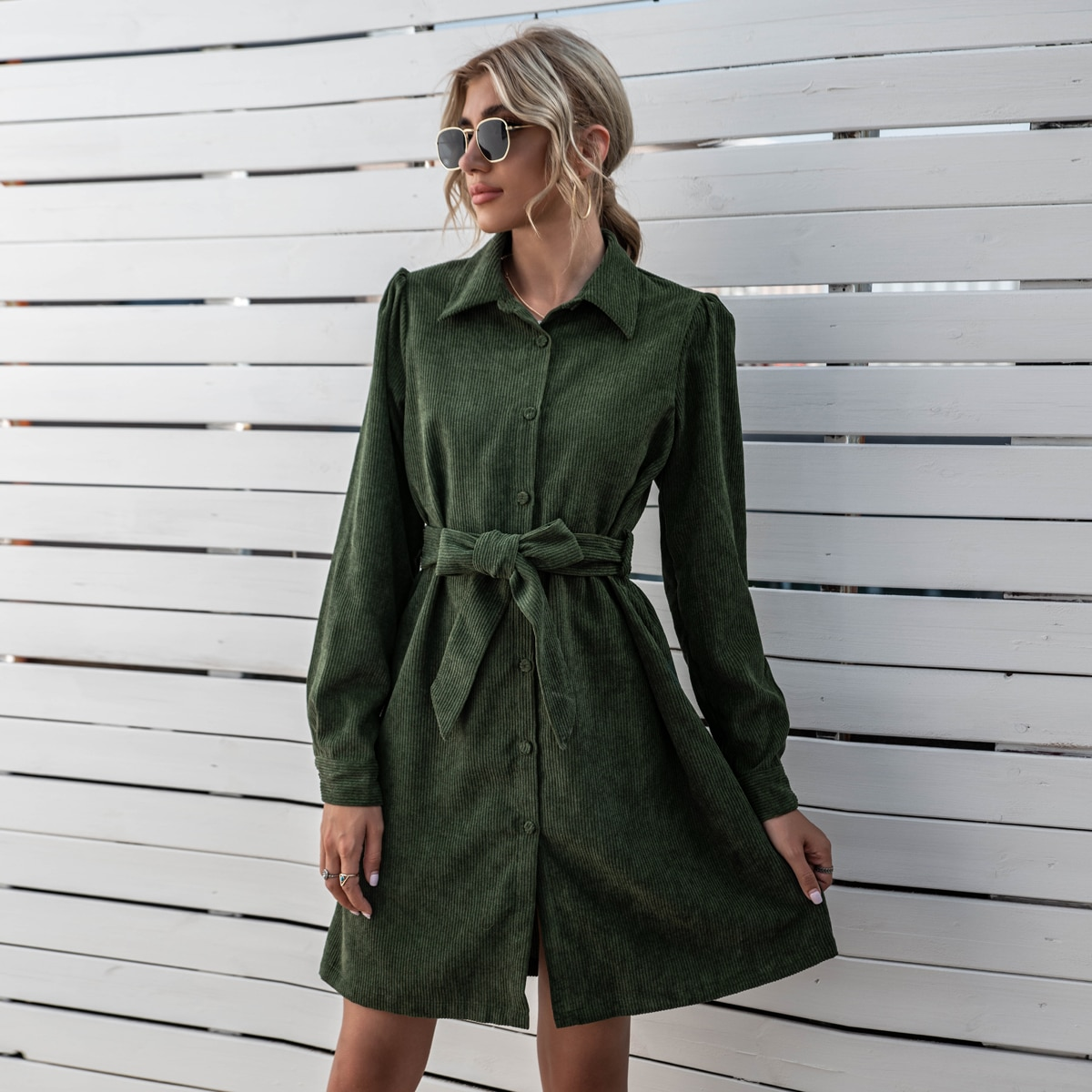 Solid Belted Button Through Corduroy Dress