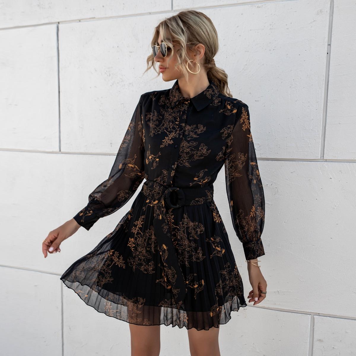 плиссированное Цветочный принт Повседневный Платье