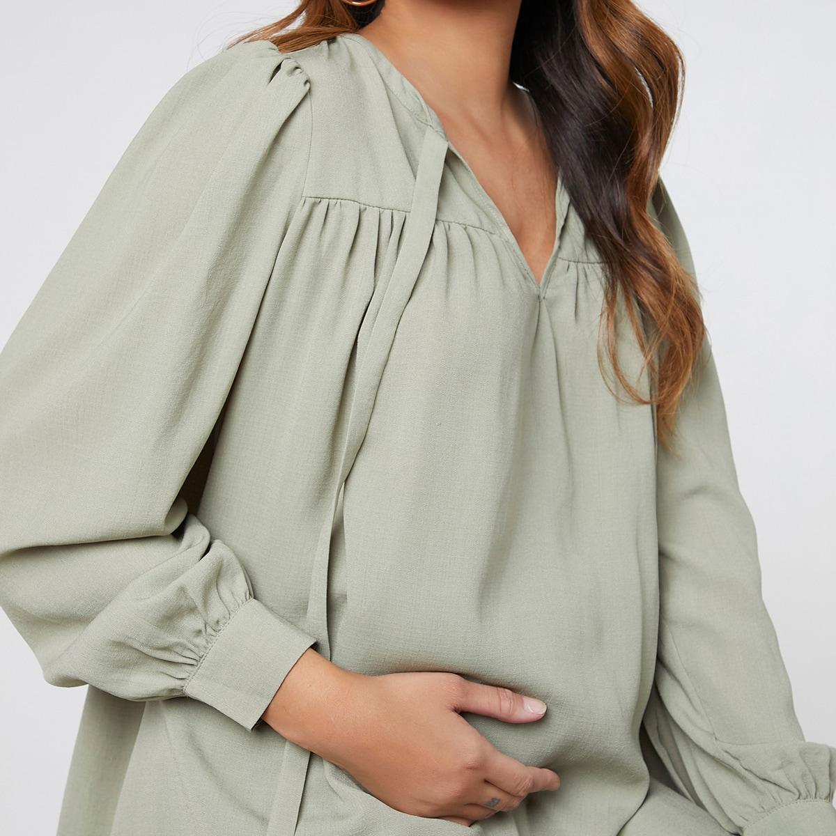 Пуговица одноцветный повседневный блузы для беременных