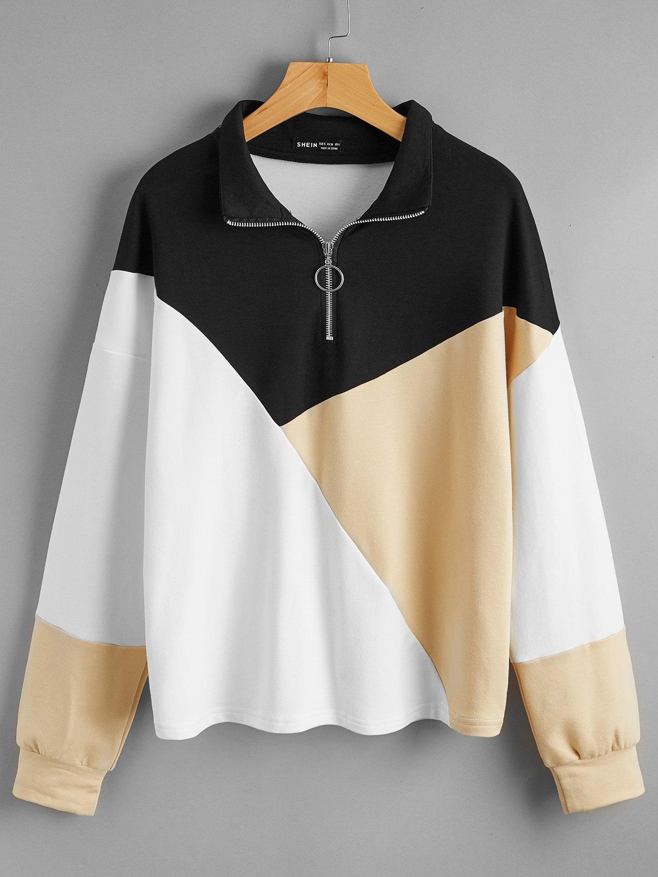 colorblock o-ring zip half sweatshirt