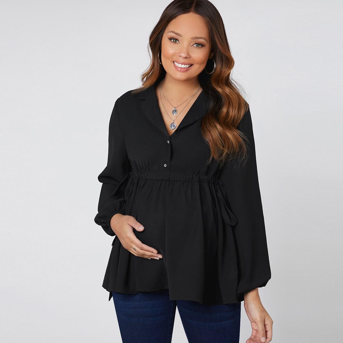 На кулиске одноцветный повседневный блузы для беременных