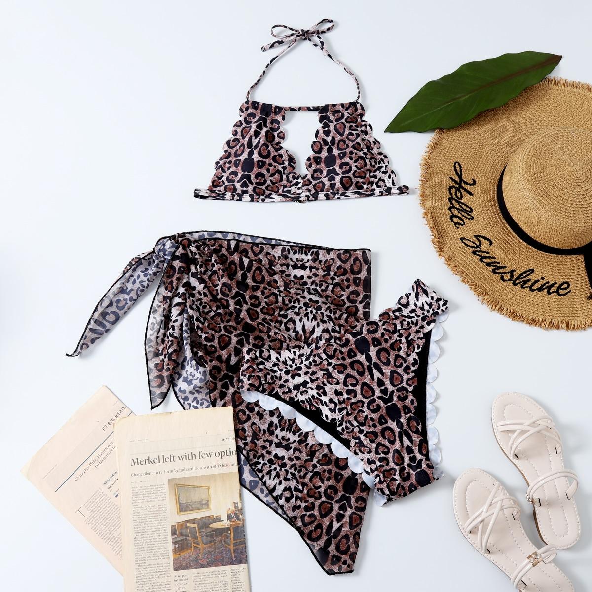 3 пакета бикини и пляжная юбка с леопардовым принтом