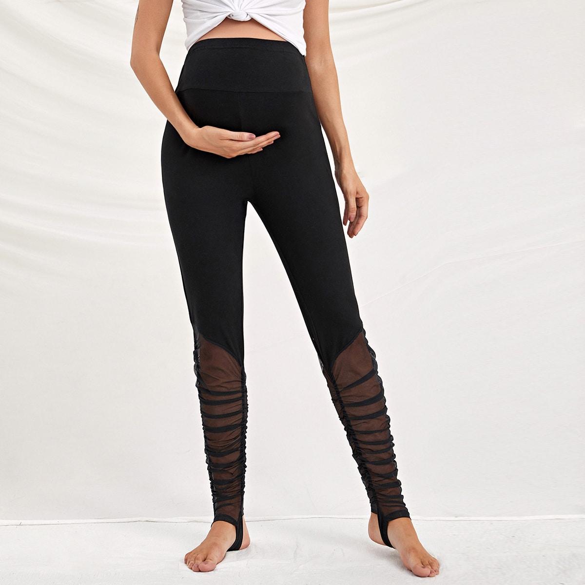 Контрастная сетка одноцветный повседневный брюки и леггинсы для беременных
