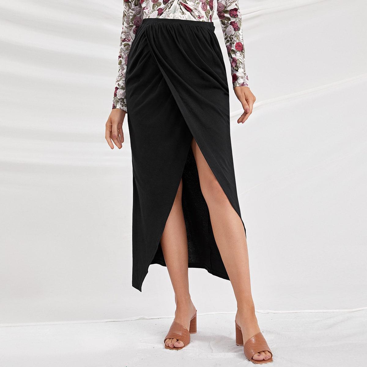 На пуговицах одноцветный элегантный юбки для беременных