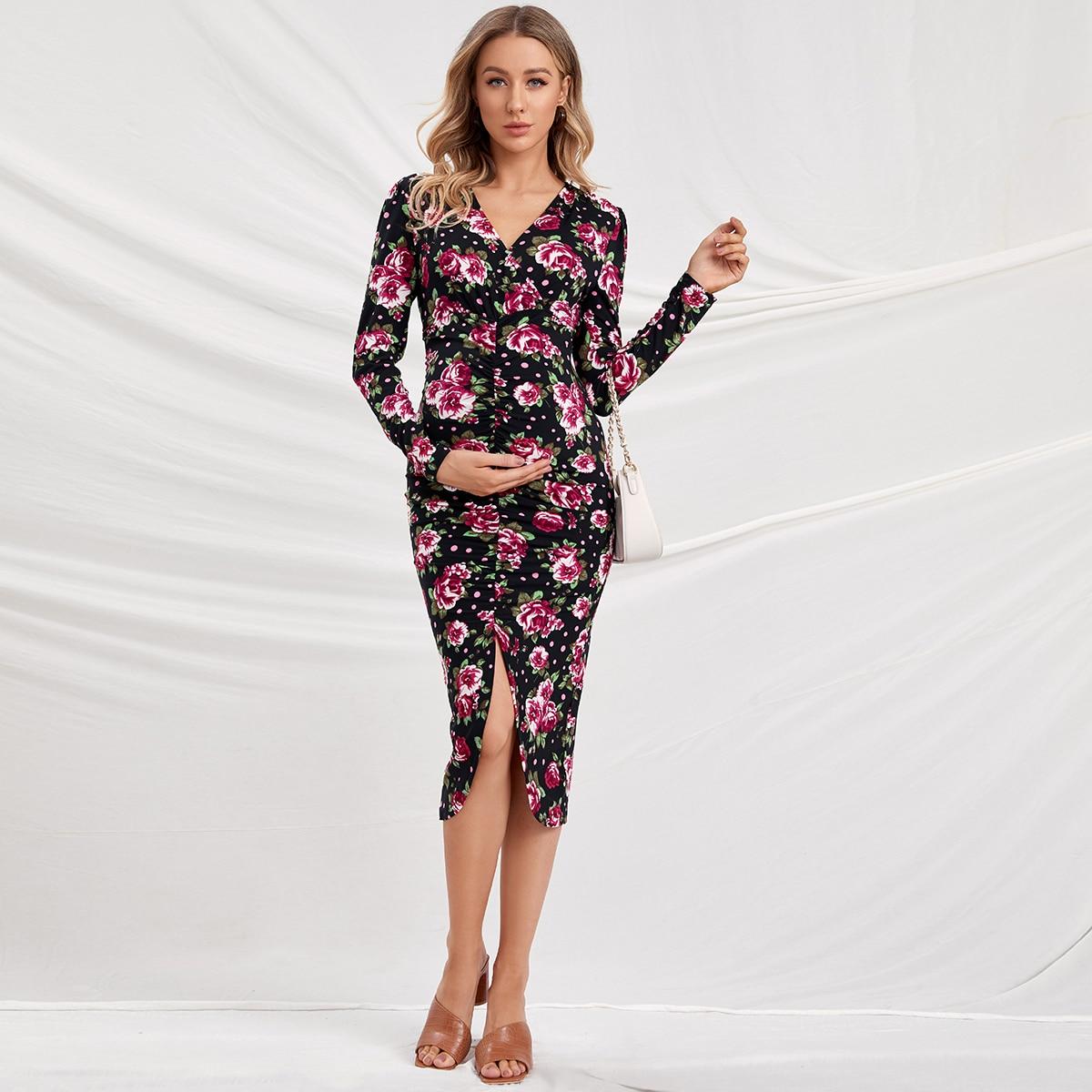 Платье для беременных с цветочным принтом и разрезом