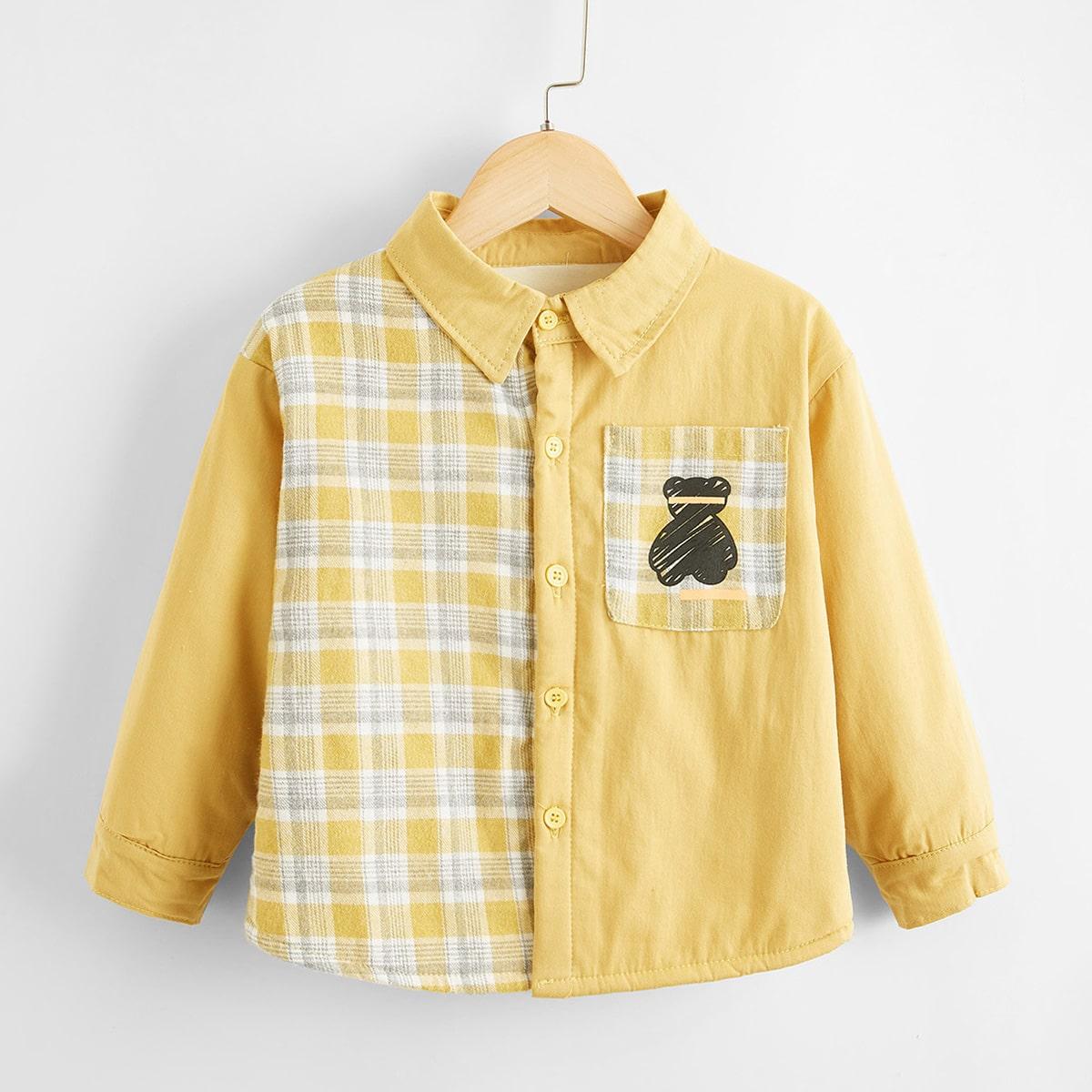 С карманами с карикатурой институтский пальто для маленьких мальчиков