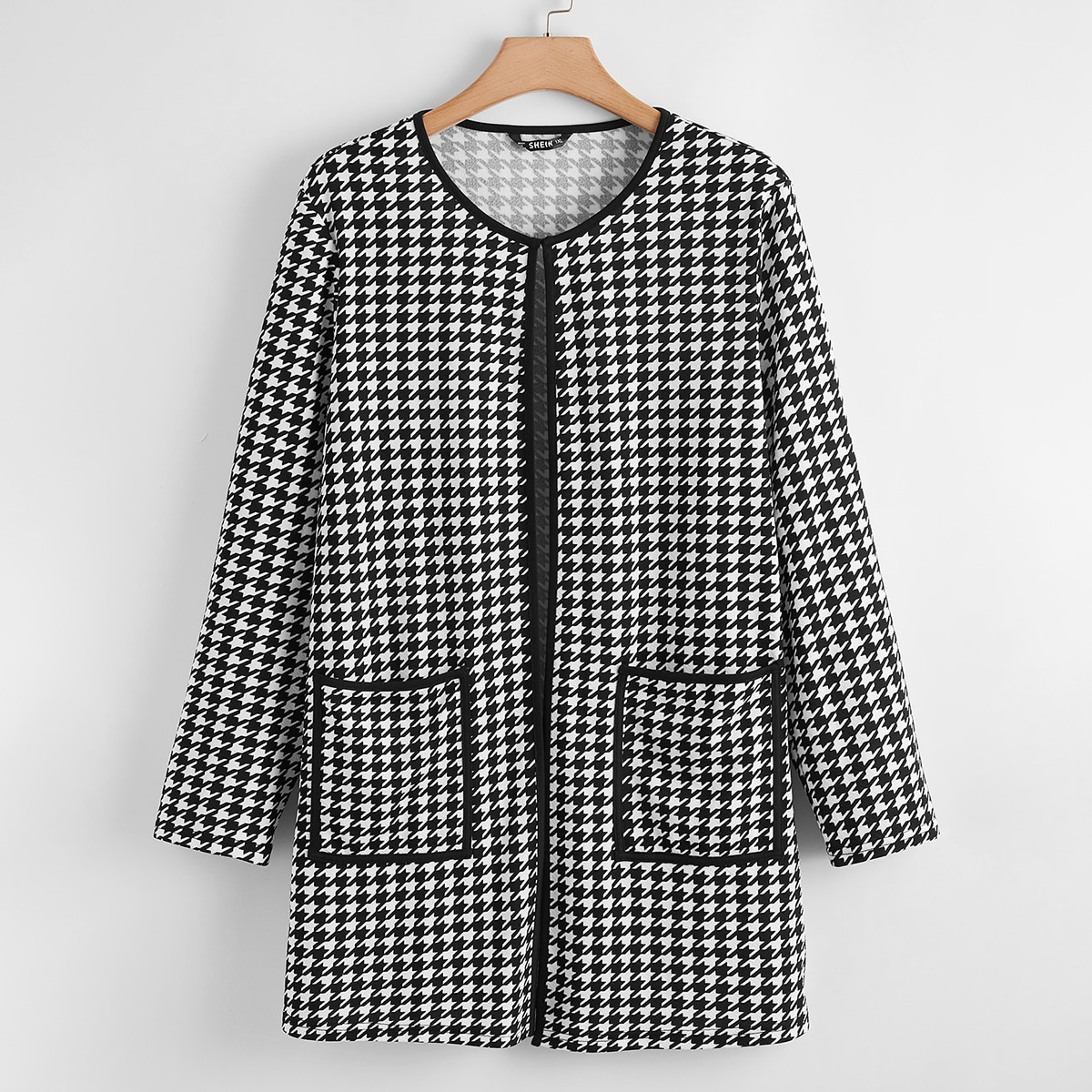 shein Casual Houndstooth Grote maat: mantel Zak