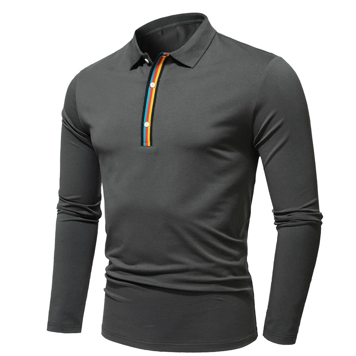 Пуговица полосатый повседневный мужская рубашка-поло