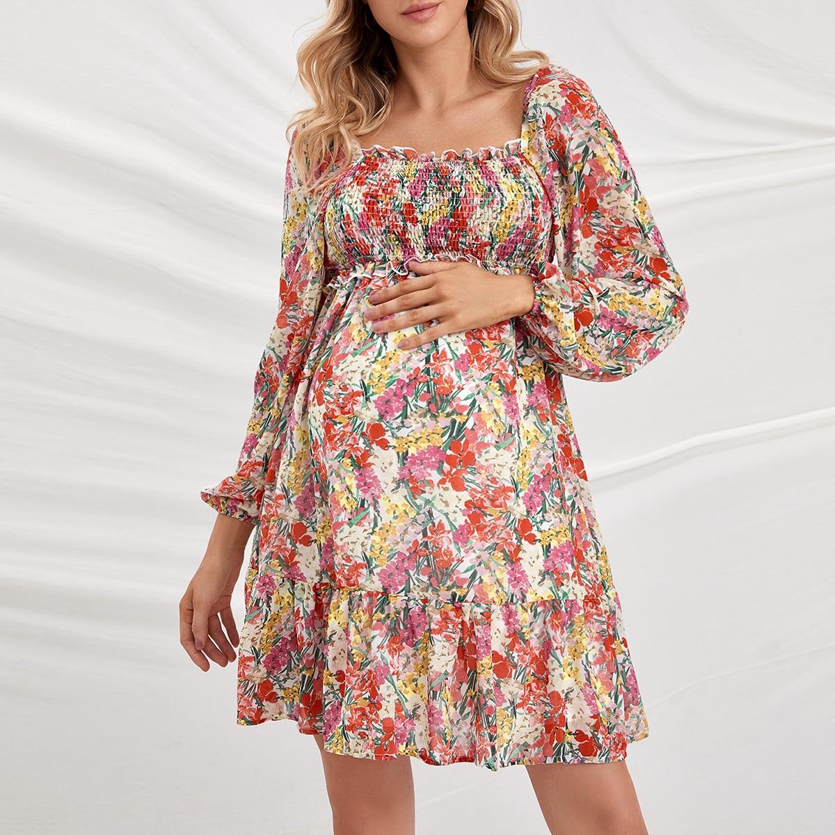 Платье для беременных с цветочным принтом