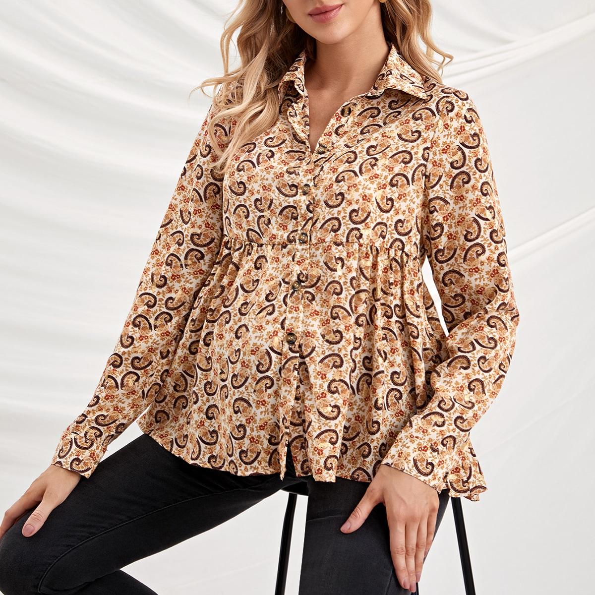Низ-оборка пейсли бохо блузы для беременных