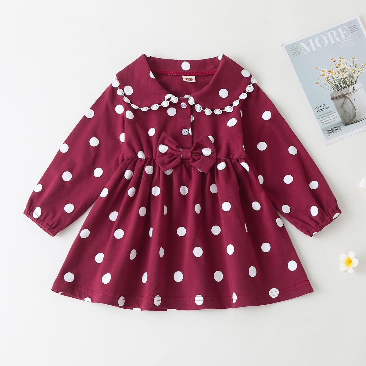 Платье в горошек с бантом для девочек
