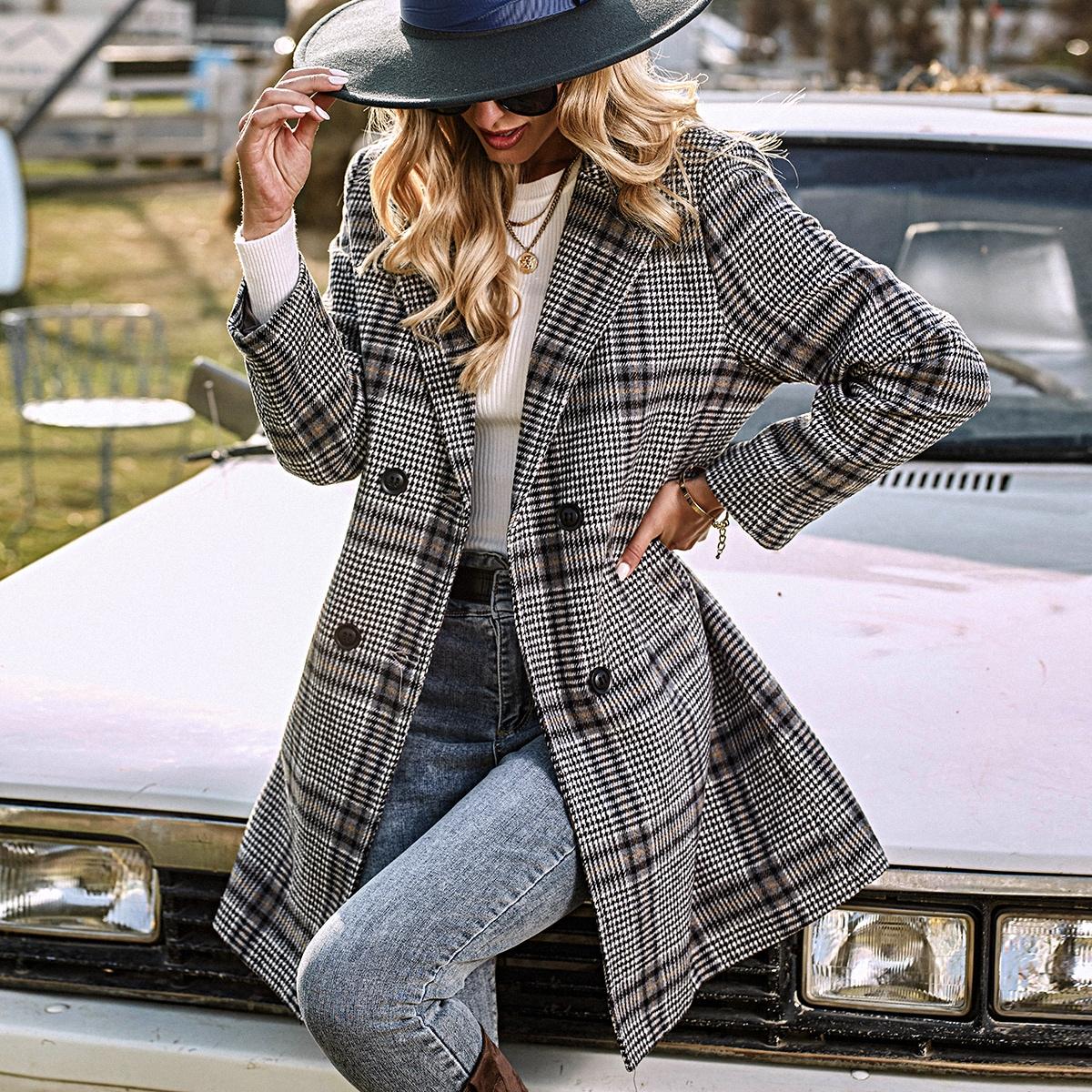 Двойная пуговица хаундстут повседневный куртка