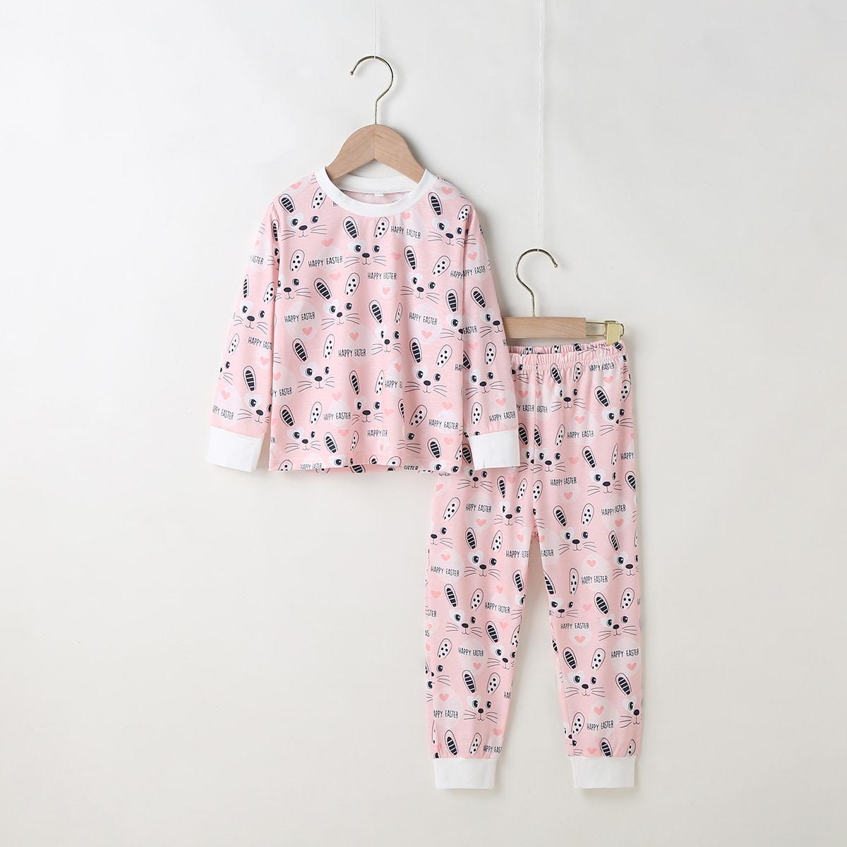 Пижама с принтом кролика для девочек