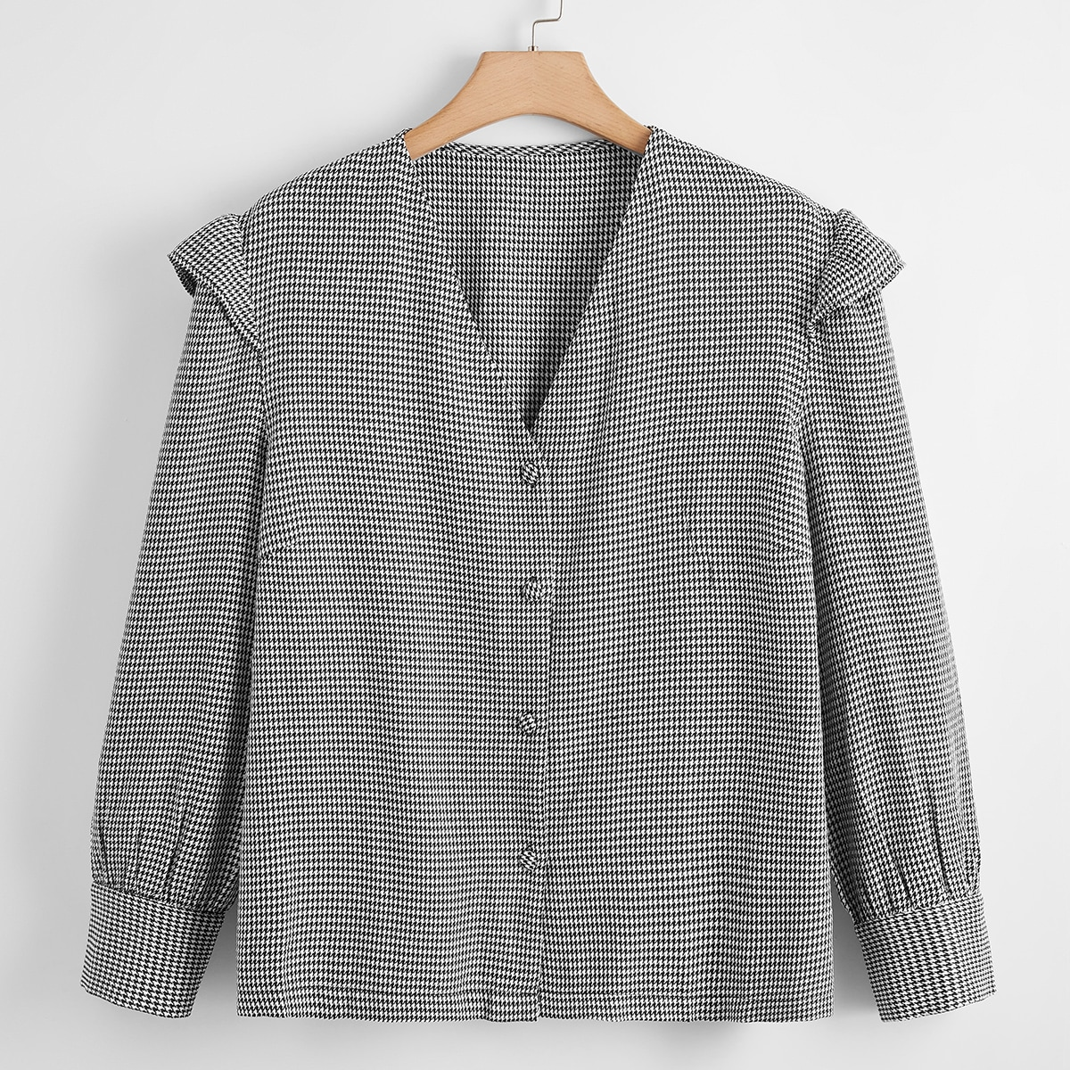 Plus Houndstooth Button Up Blouse