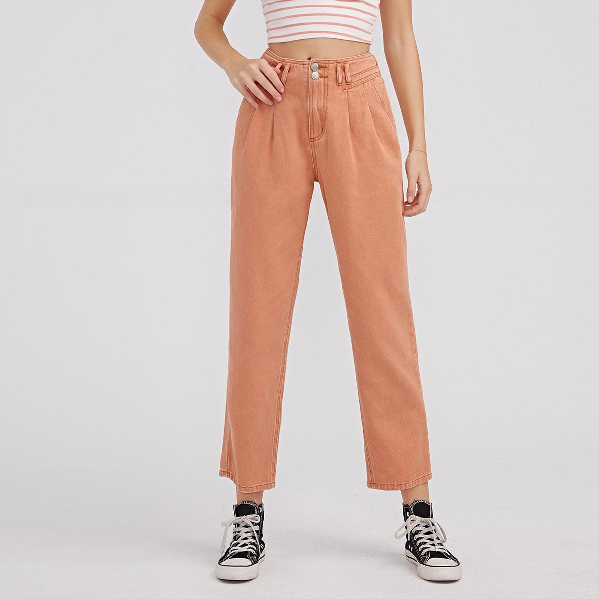 Прямые короткие джинсы