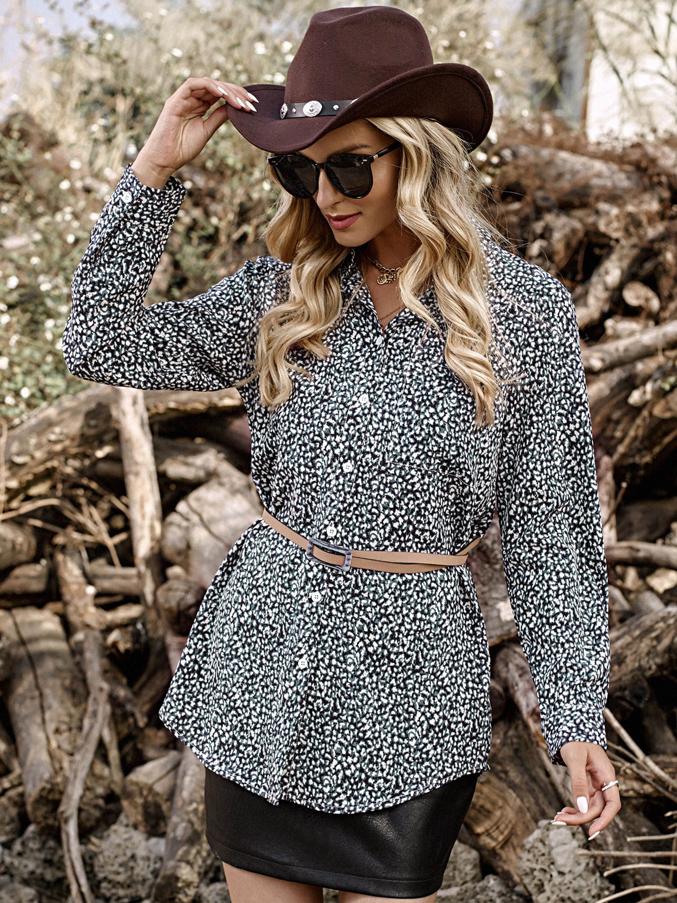 All Over Print Button Front Blouse Without Belt thumbnail